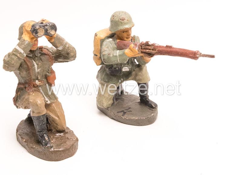 Elastolin - Heer Gewehrführer beobachtend und Schütze schießend kniend