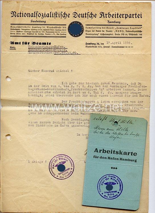 NSDAP Gau Hamburg - Amt für Beamte - Urlaubertrupp Hafen - Arbeitskarte für den Hafen Hamburg