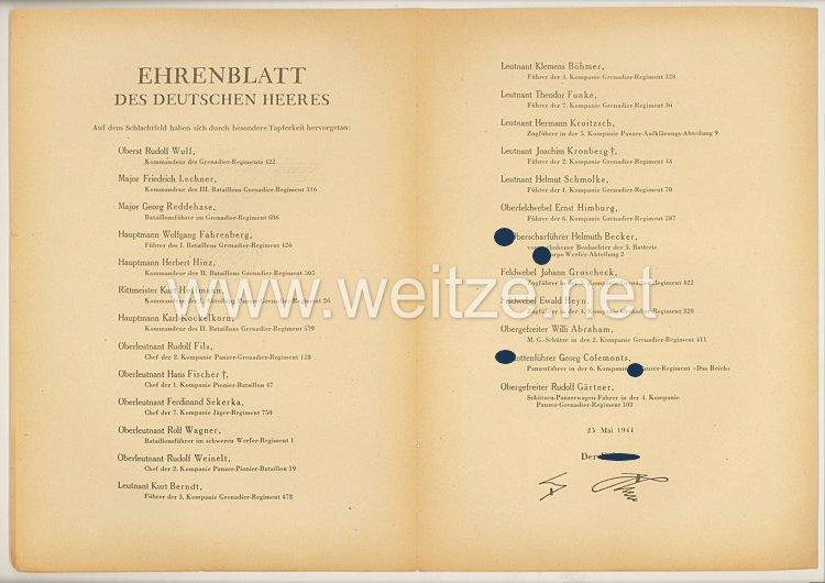 Ehrenblatt des deutschen Heeres - Ausgabe vom 25. Mai 1944