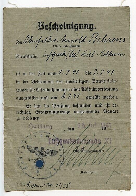 Bescheinigung der Dienststelle Luftpark (See) Kiel-Holtenau für einen Oberfeldwebel