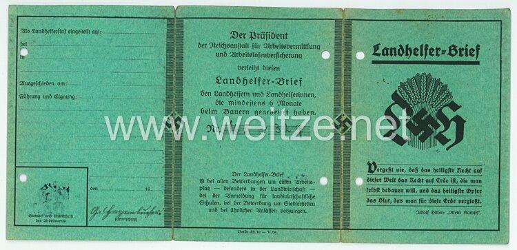 III. Reich - Landhelfer-Brief für einen Mann des Jahrgangs 1913 aus Rheinhausen