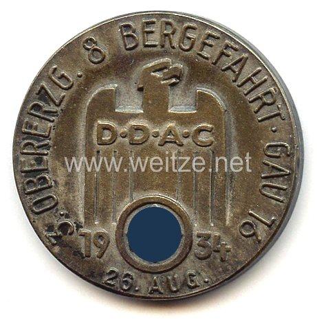 """NSKK / DDAC - nichttragbare Auszeichnungsplakette - """" 3. Obererzg. 8 Bergefahrt Gau 16 26. Aug. 1934 - Für sportliche Leistung """""""
