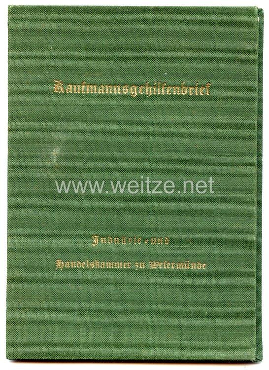 III. Reich - Industrie- und Handelskammer zu Wesermünde - Kaufmannsgehilfenbrief