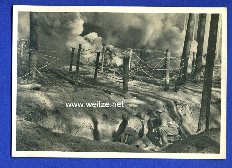 """Waffen-SS - Propaganda-Postkarte - """" Unsere Waffen-SS """" - Sturmpioniere schlagen eine Bresche"""