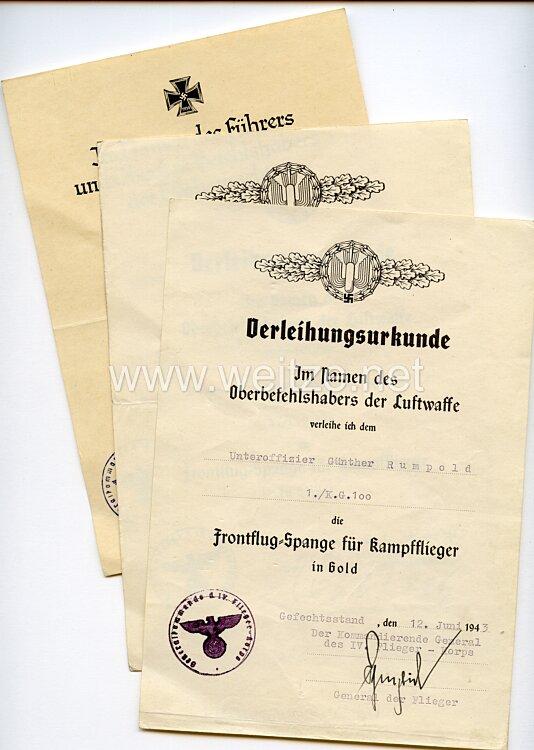 Luftwaffe - Urkundentrio für einen Unteroffizier der 1./Kampfgeschwader 100