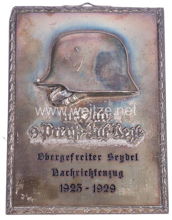 Reichswehr - Erinnerungsplakette des III. Batl. 9. (Preuß.) Infanterie-Regiment