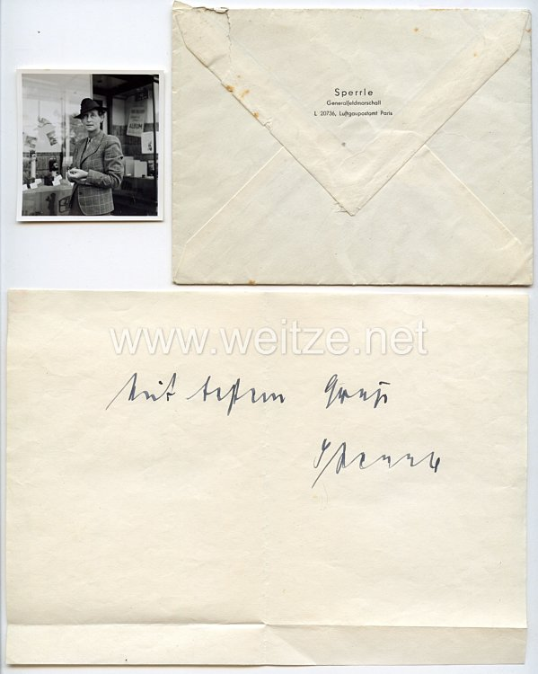 Luftwaffe - Originalunterschrift des Ritterkreuzträgers Generalfeldmarschall Hugo Sperrle