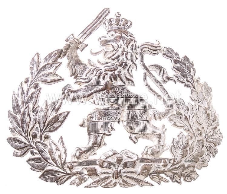 Hessen Silbernes Helmemblem für die Pickelhaube Mannschaften der Dragoner-Regimenter Nr. 23 und 24.