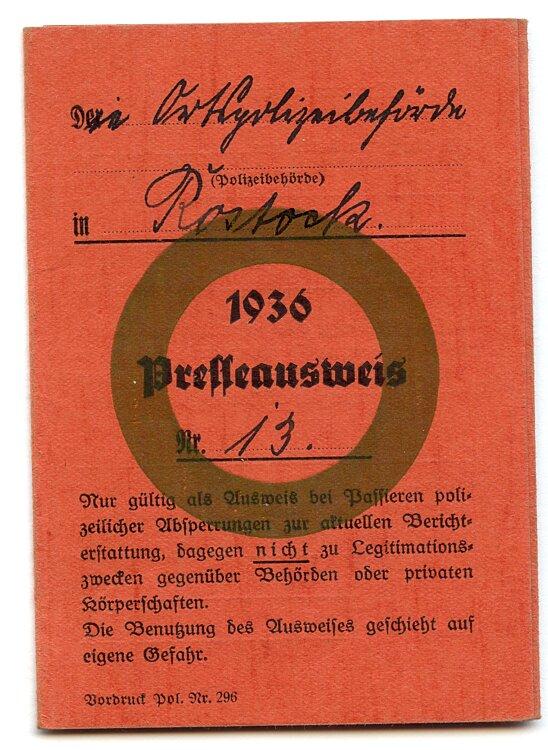 III. Reich - Presseausweis 1936 eines Pressevertreters für den