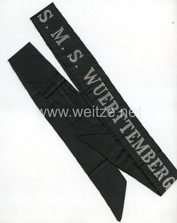 """Kaiserliche Marine Mützenband """"S.M.S. Wuerttemberg"""" in Silber"""