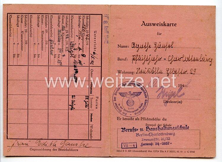 III. Reich - Ausweiskarte für einen Pflichtschüler