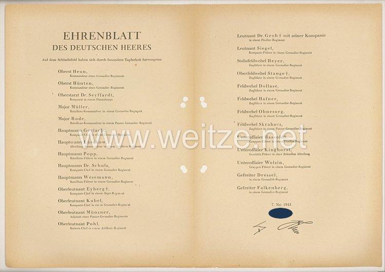 Ehrenblatt des deutschen Heeres - Ausgabe vom 7. Mai 1943