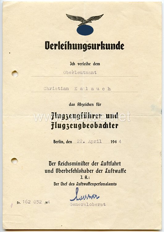 Verleihungsurkunde für das Abzeichen für Flugzeugführer und Flugzeugbeobachter ( Luftwaffendoppelabzeichen )