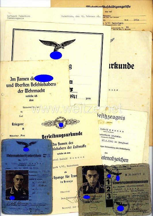 Luftwaffe - Dokumentengruppe für einen späteren Oberfeldwebel der 2./Frontflieger-Sammelgruppe