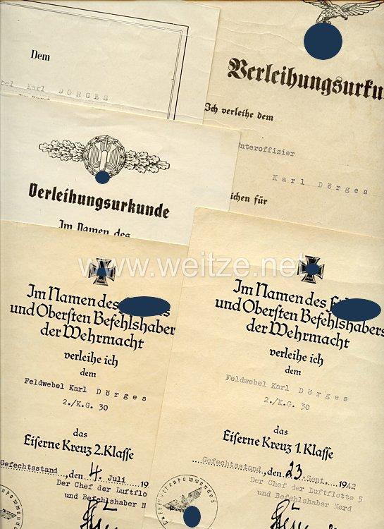 Luftwaffe - Urkundengruppe für einen späteren Feldwebel der IV./Kampfgeschwader 101