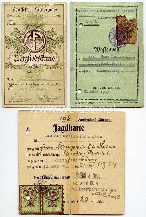 III. Reich - Waffenpaß und Jagdkarte für einen Jungen in Sachsenburg