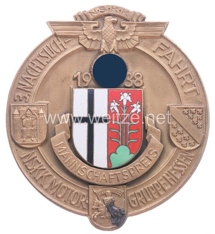 """NSKK - große nichttragbare Siegerplakette """"NSKK Mannschaftspreis 3. Nachtsuchfahrt NSKK Motorgruppe Hessen 1938"""""""