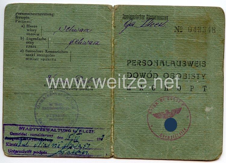 III. Reich / Kommissarischer Bürgermeister der Gemeinde Klezk - Personalausweis für eine Frau des Jahrgangs 1919