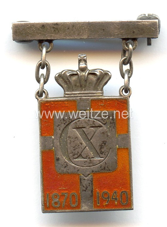 Dänemark - Erinnerungsabzeichen an den 70. Geburtstag von König Christian X. 1870-1940