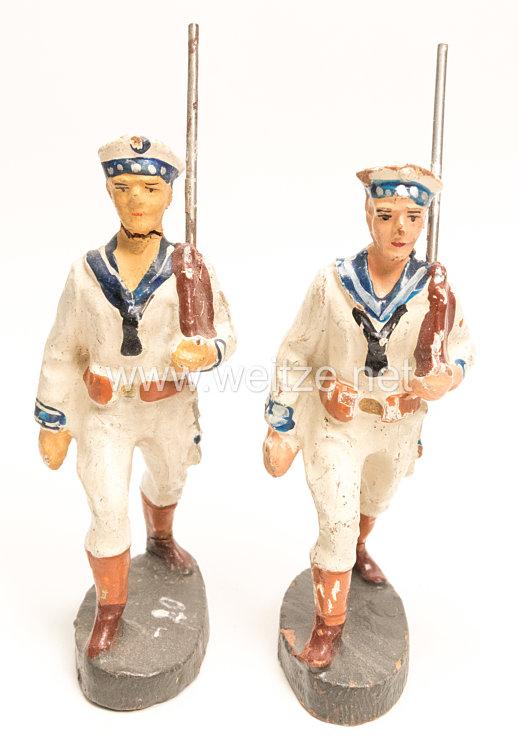 Elastolin - Kriegsmarine 2 Matrosen in weißer Uniform marschierend