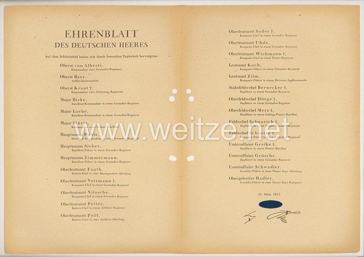 Ehrenblatt des deutschen Heeres - Ausgabe vom 28. März 1943