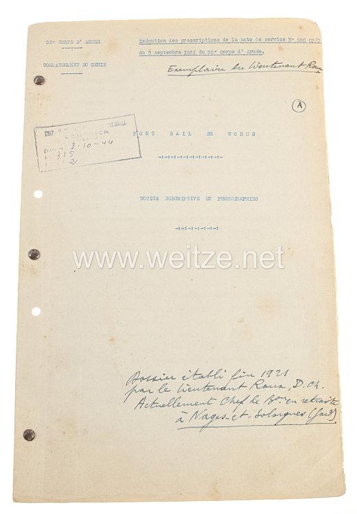Frankreich Fotoalbum Besatzungsarmeeim RheinlandFotografisches Protokoll der Bahn-Brücke in Worms, 9. September 1921