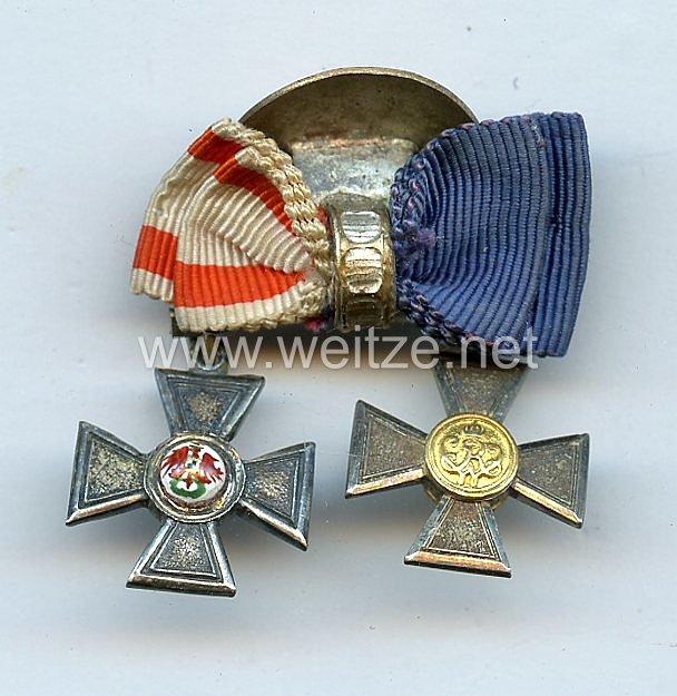 Knopflochdekoration - Kreuz XX Jahre für Offiziere und Roter Adlerorden 4. Klasse - Miniatur