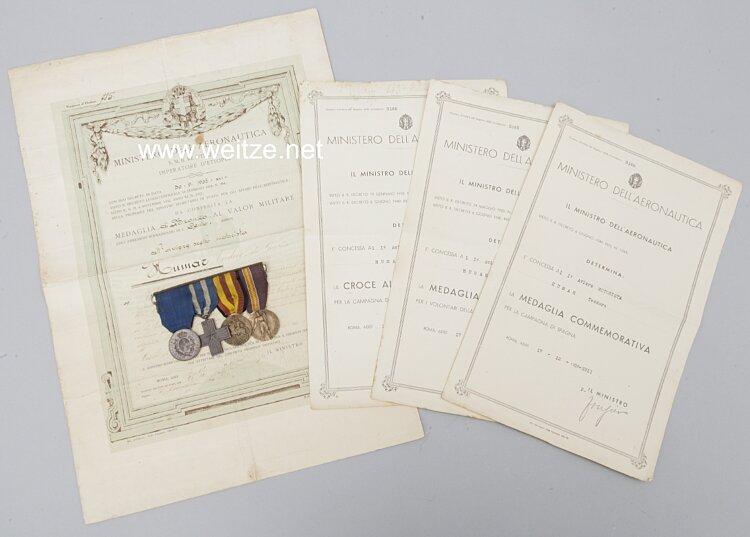 Italien große Ordenschnalle und Verleihungsurkunden des Fliegers Teodoro Humar, Freiwilliger im Spanischen Bürgerkrieg 1936-1939