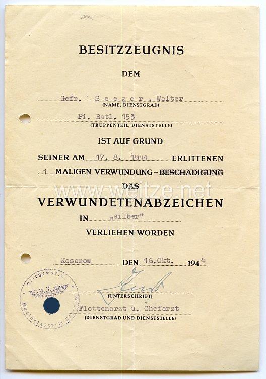 Verwundetenabzeichen in Silber 1939 - Besitzzeugnis