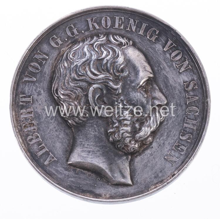 Sachsen tragbare Schießprämienmedaille IV. Klasse S.M. König Albert, 1874-1877