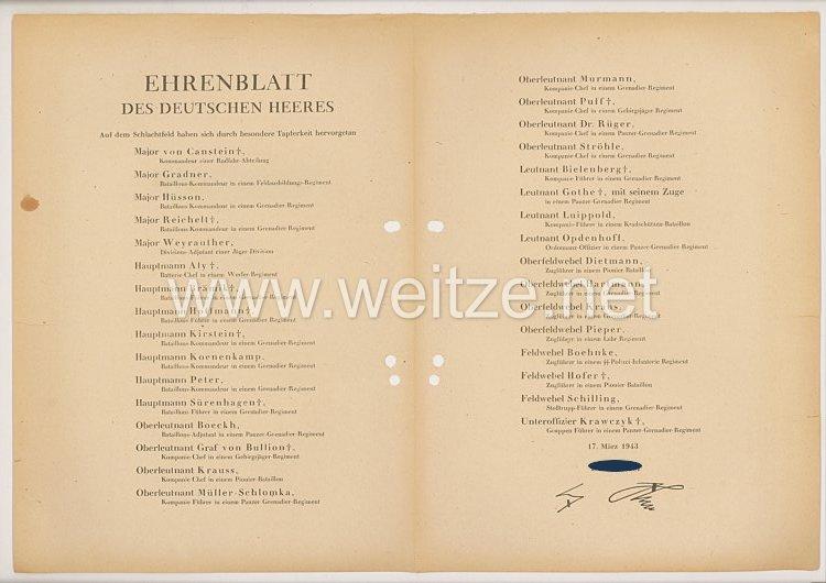 Ehrenblatt des deutschen Heeres - Ausgabe vom 17. März 1943