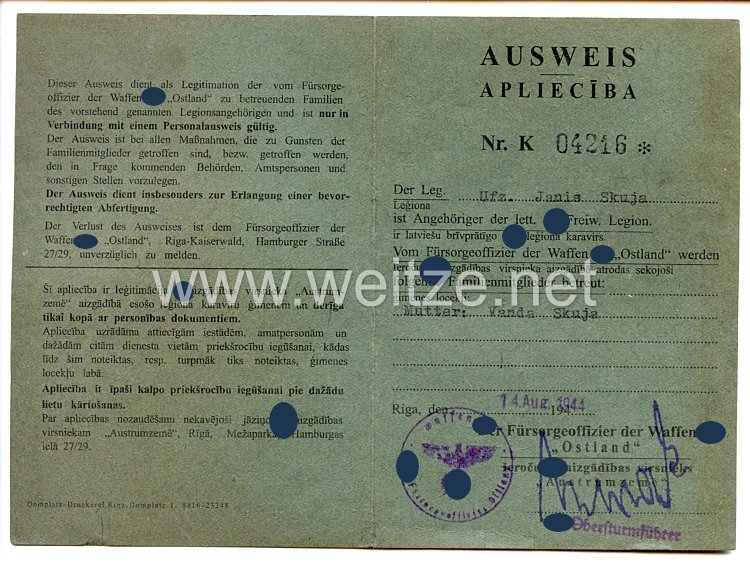 "Waffen-SS - Lettische Freiwilligen-Legion - Ausweis der Waffen-SS "" Ostland """