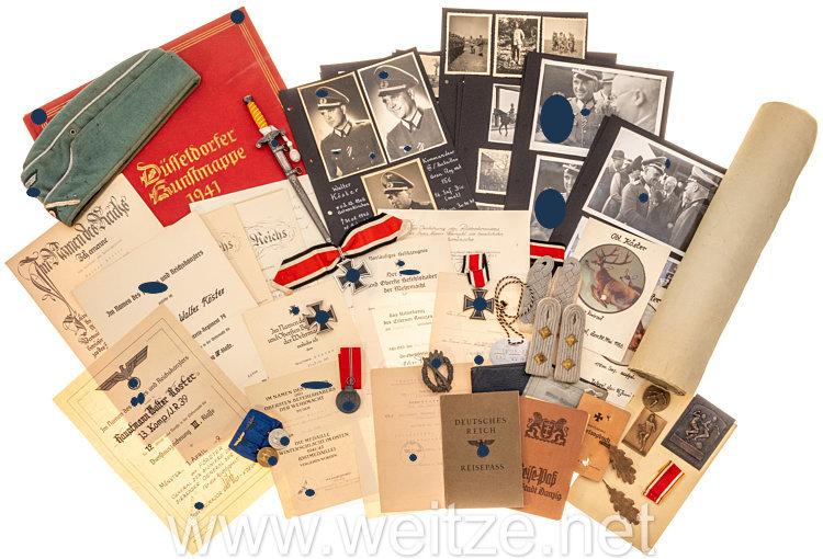 Wehrmacht: großer Nachlass des Ritterkreuzträgers Major Walter Köster, Kommandeur III./Infanterie-Regiment (mot) 156