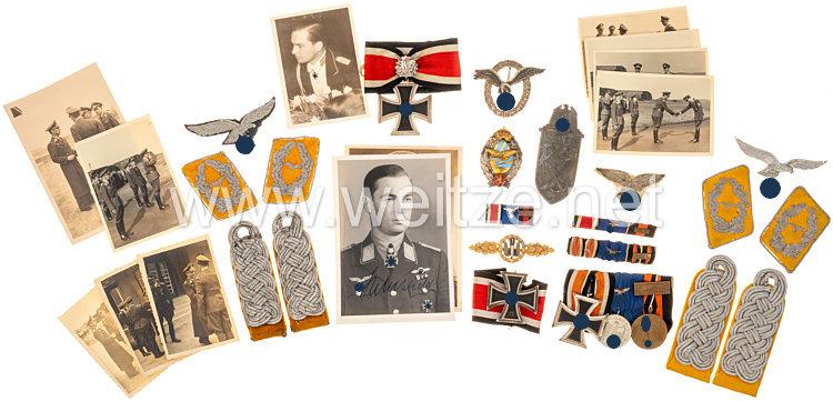 Luftwaffe großer Nachlass aus dem Besitz der Ritterkreuzträgers mit Eichenlaub und späterem Generalmajor der Luftwaffe Hubertus Hitschhold