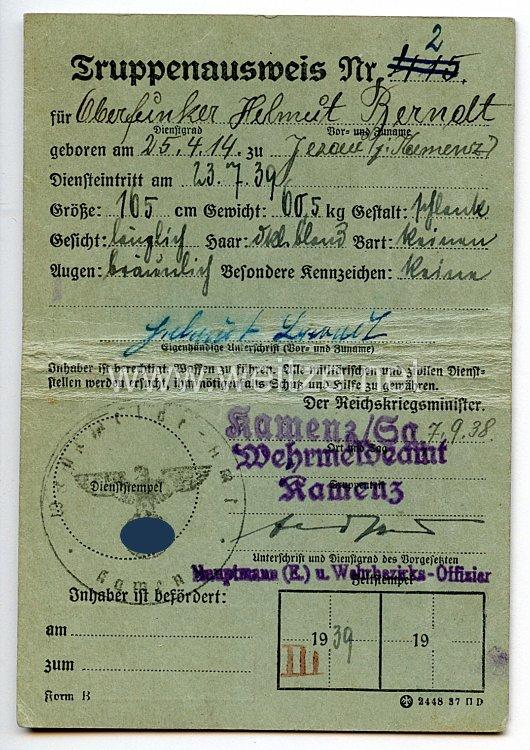 Heer - Truppenausweis für einen Oberfunker