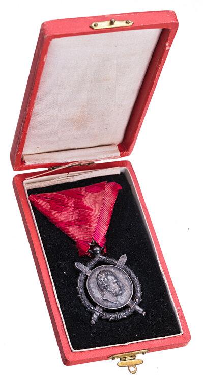 Königreich Bulgarien Verdienst Orden - 2. Kl. - Zar Ferdinand I. - Silberne Med. mit gekreuzten Schwertern,