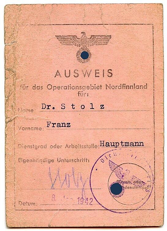 Ausweis für das Operationsgebiet Nordfinnland