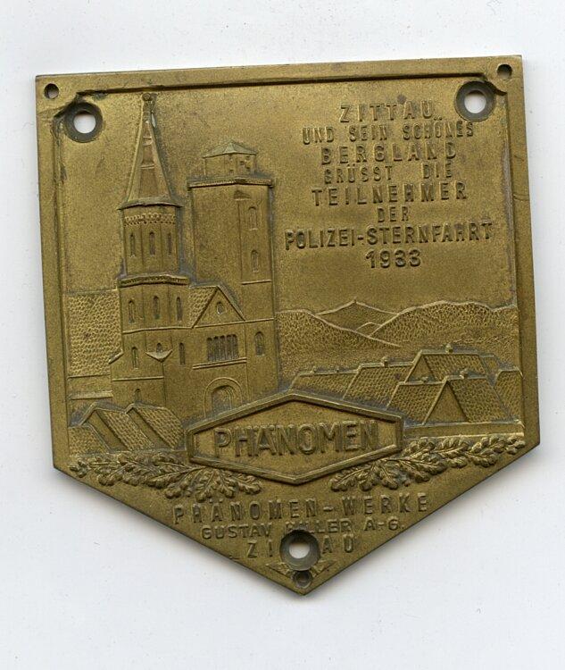 III. Reich / Polizei - Zittau und sein schönes Bergland grüsst die Teilnehmer der Polizei-Sternfahrt 1933 - Phänomen-Werke Zittau