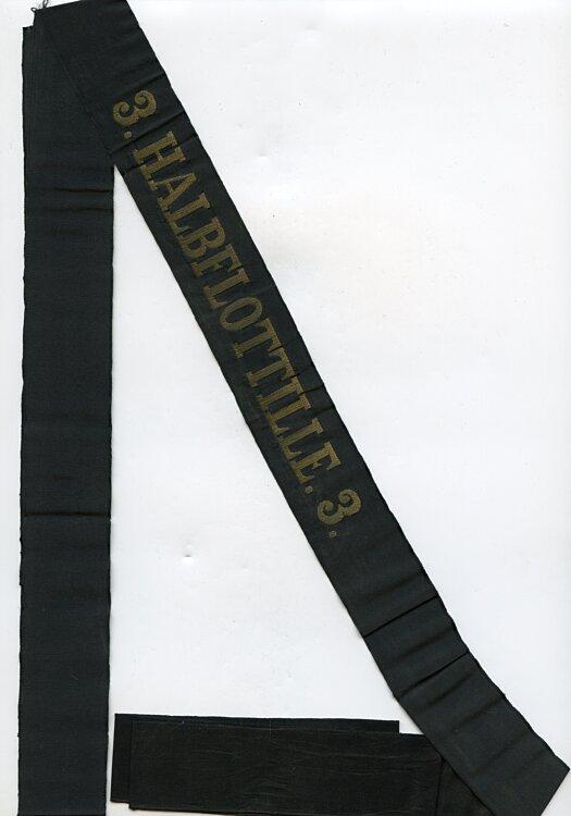 """Reichsmarine Mützenband """"3. Halbflottille. 3."""" in Gold"""
