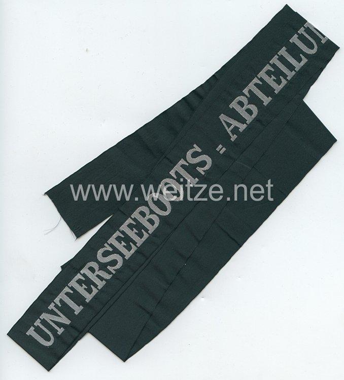 """Kaiserliche Marine 1. Weltkrieg Mützenband """"Unterseeboots = Abteilung"""""""