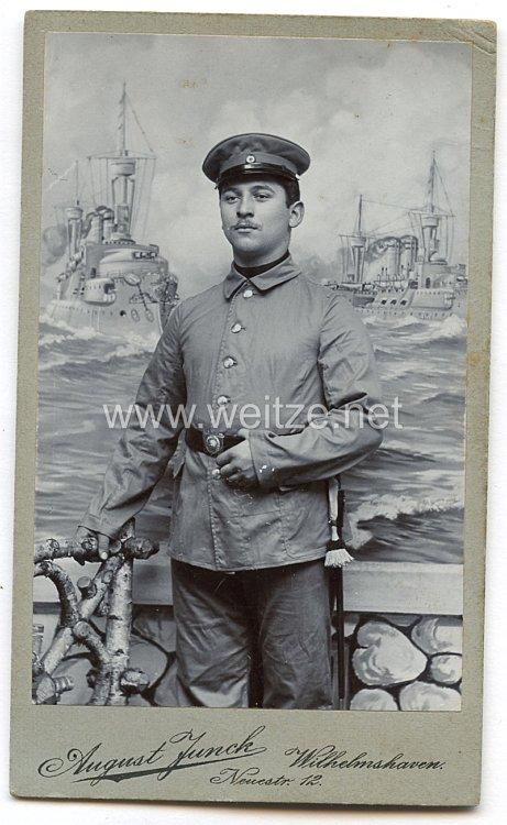 Foto Kaiserliche Marine: Seebataillon kleines Kabinettfoto eines Seesoldaten im Arbeitszeug
