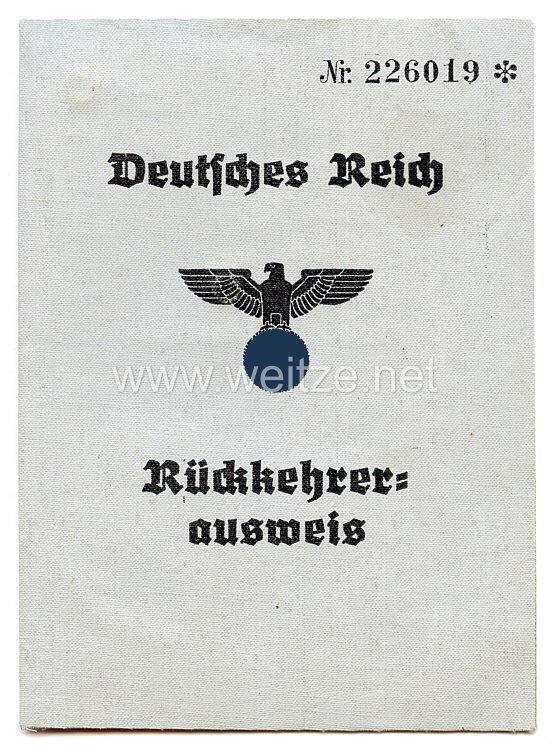 III. Reich - Rückkehrerausweis für einen Mann des Jahrgangs 1920 aus Polen