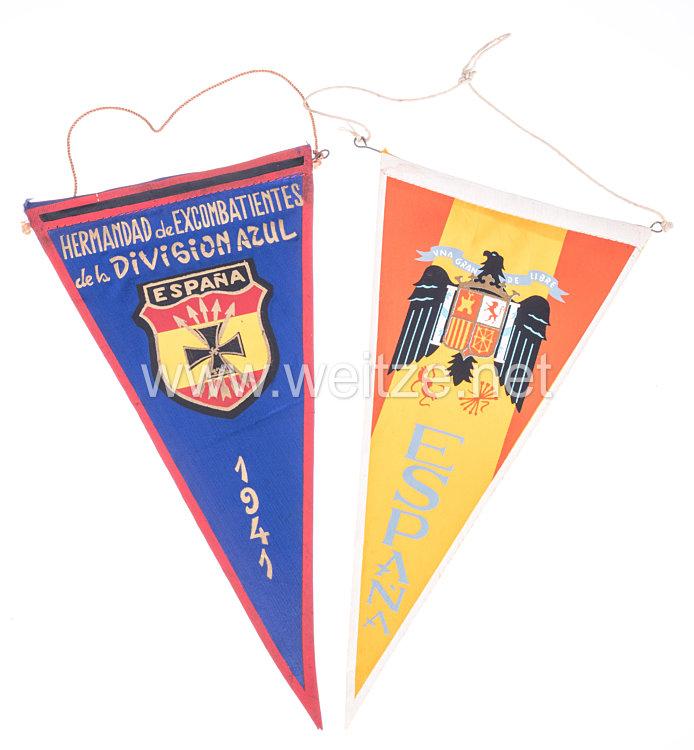 2 Erinnerungswimpel der Bruderschaft der Kriegsteilnehmer der Blauen Division für den Feldzug in Rußland 1941