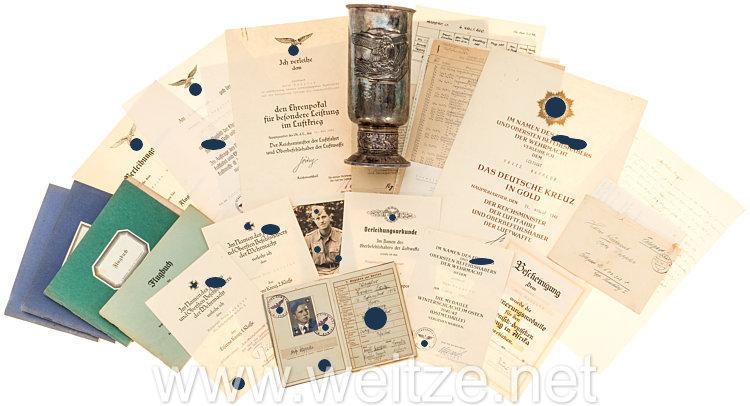 Luftwaffe - Nachlass mit Ehrenpokal für besondere Leistungen im Luftkrieg für Leutnant Fritz Wappler, 16. Kampfgruppe z.b.V. 1, später 4. KG z.V. 600