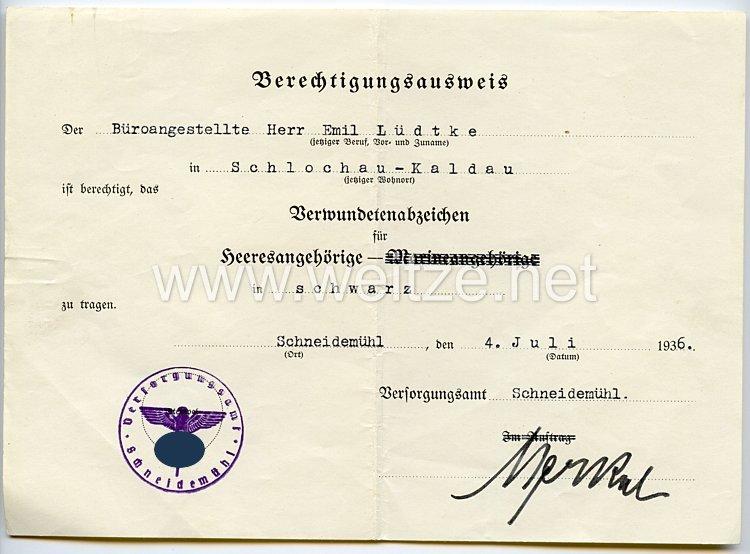 Verwundetenabzeichen in Schwarz 1918 für Heeresangehörige - Berechtigungsausweis zum Tragen