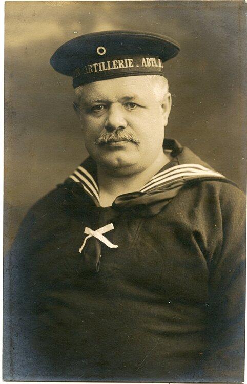 1. Weltkrieg Foto eines Matrosen der Marine Artillerie
