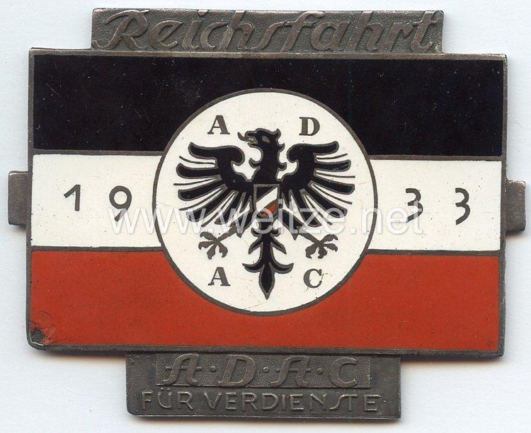 III. Reich - ADAC - nichttragbare Verdienstplakette für die Reichsfahrt 1933