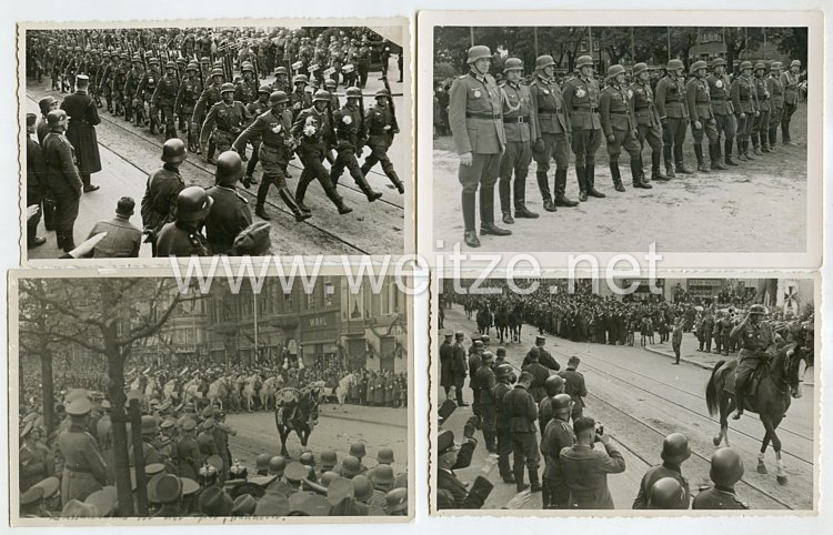 Wehrmacht Heer Fotogruppe, Einmarsch der Soldaten in die Heimatstadt mit verliehenen E.K.2 1939