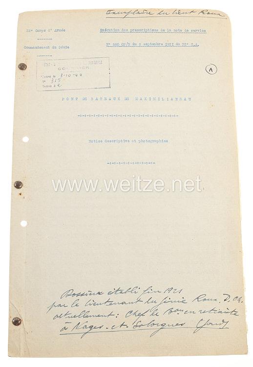 Frankreich Fotoalbum Besatzungsarmeeim RheinlandFotografisches Protokoll der Brücke Maximiliansau, 9. September 1921