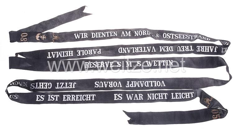 """Kaiserliche Marine langes Reservisten Mützenband eines Heizers auf """"S.M.S. Wettin"""" in Silber, 1905-1908"""